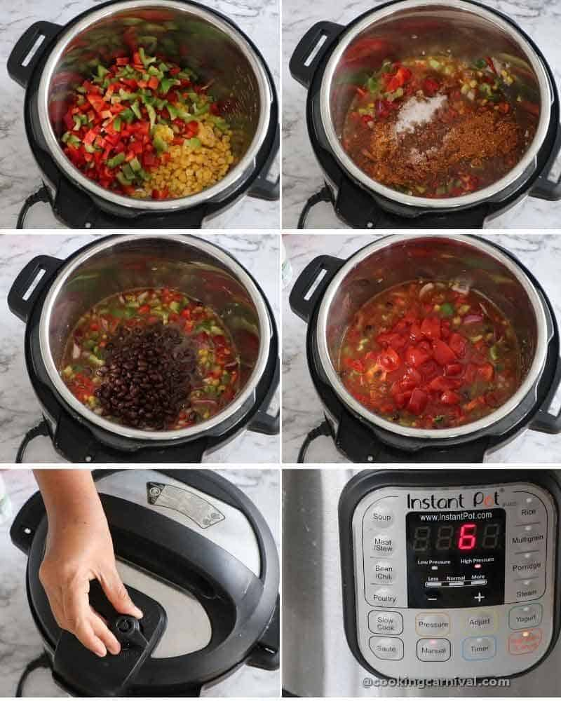 collage of making taco soup in instant pot