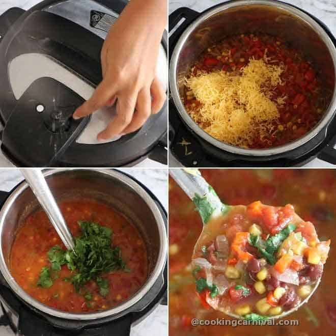 collage of adding cheese and cilantro in taco soup