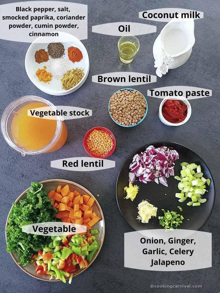premeasured ingredients for Moroccan lentil soup