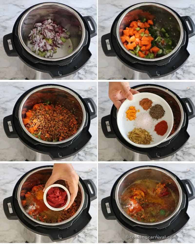 collage of making lentil soup in instant pot