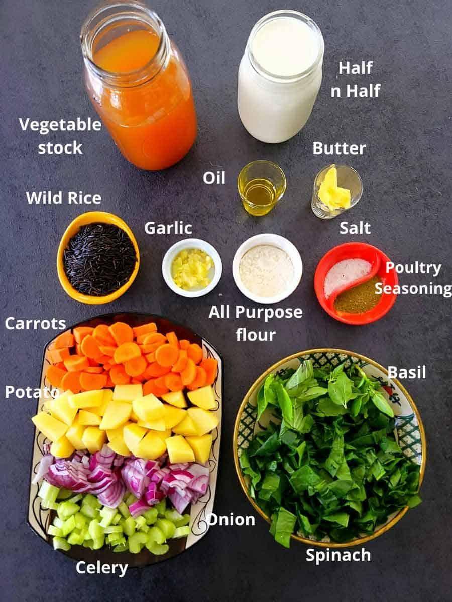 Vegetable Wild Rice Soup pre measured ingredients