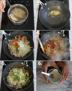 collage of making noodles samosa stuffing