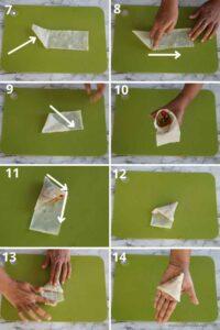 collage of folding patti samosa