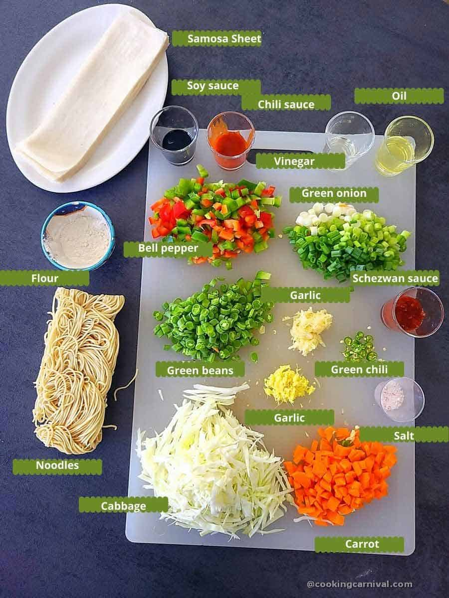pre-measured ingredients on a gray board