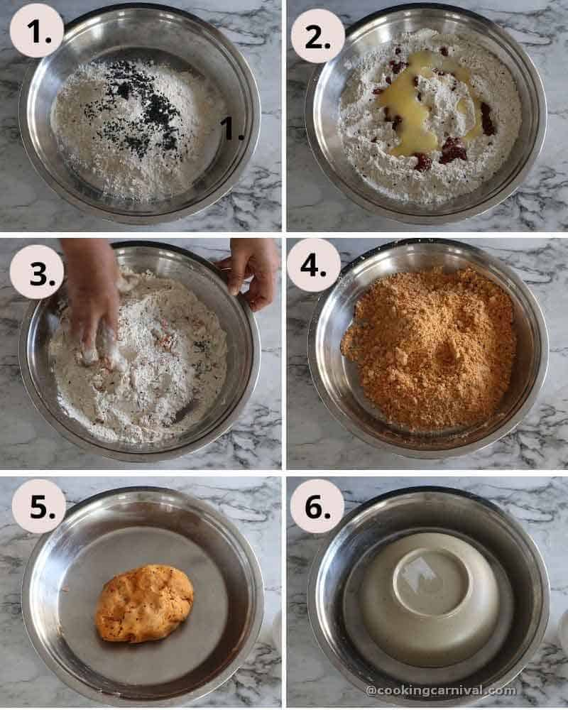 Collage of kneading mathri dough
